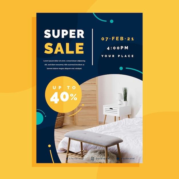 Шаблон плаката продажи плоской мебели Бесплатные векторы