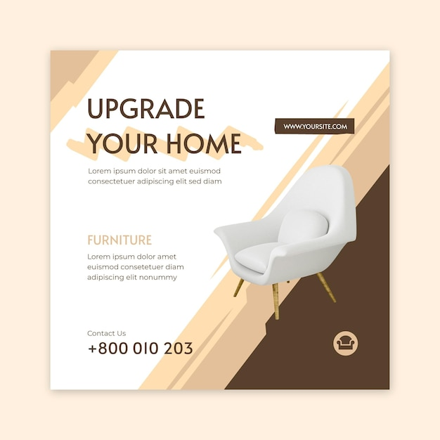Flat furniture square flyer template Free Vector