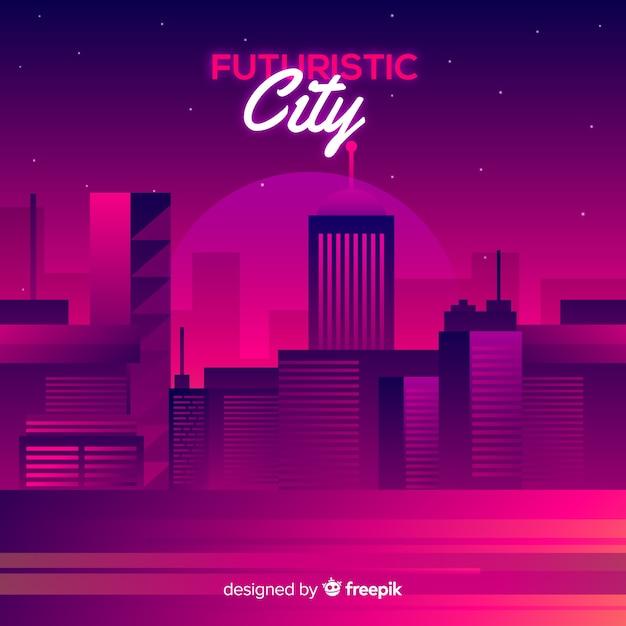 Flat futuristic city background Free Vector