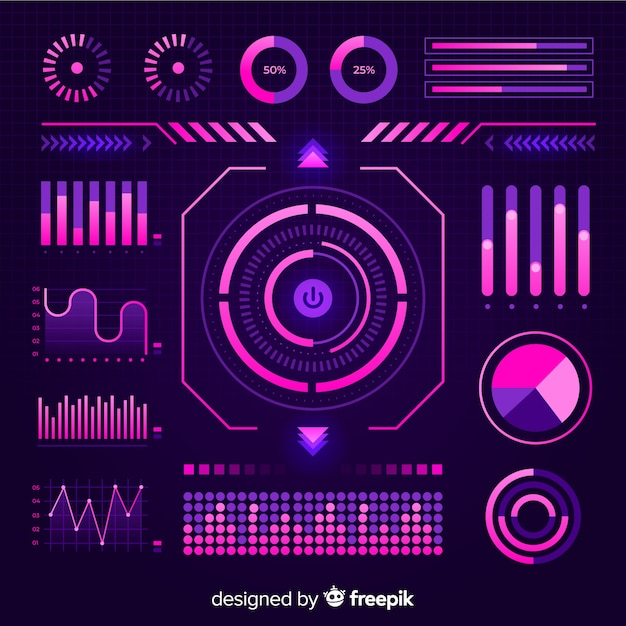 Flat futuristic infographic element collection Free Vector