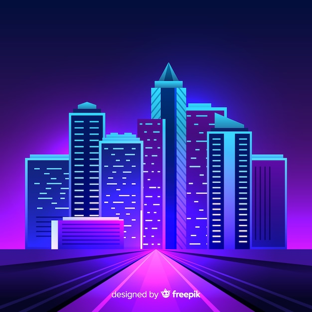 Flat futuristic night city background Free Vector