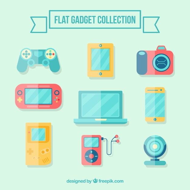 Flat gadget collection Free Vector
