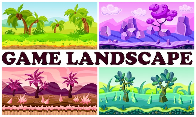 Flat game nature design background set with tropical fantasy jungle landscapes palm trees bushes stones river plants mountains clouds Free Vector