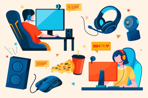 Flat game streamer concept elements Free Vector