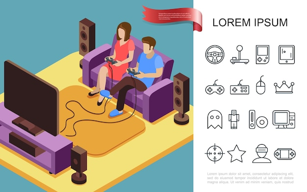 Flat gaming concept Free Vector