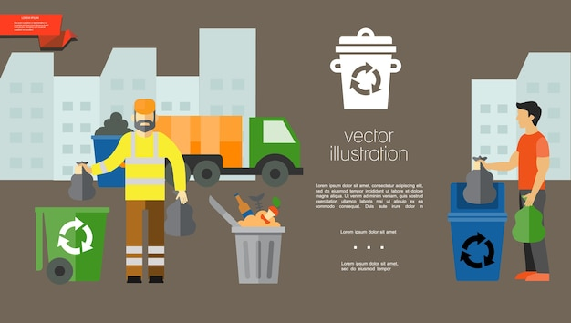 Flat garbage colorful template Free Vector