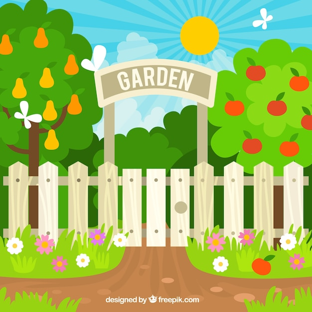 Flat Garden Entrance Design Free Vector