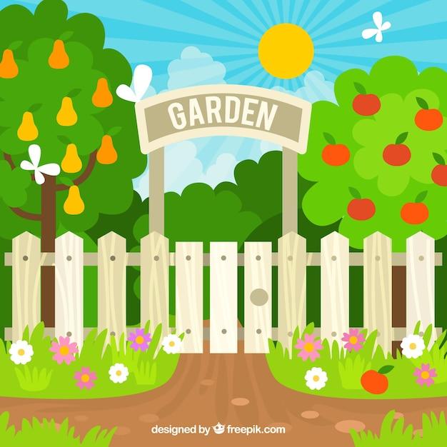 Flat garden entrance design Vector | Free Download