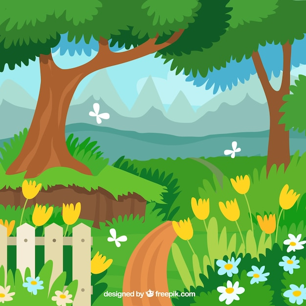 Flat garden landscape design Vector Free Download