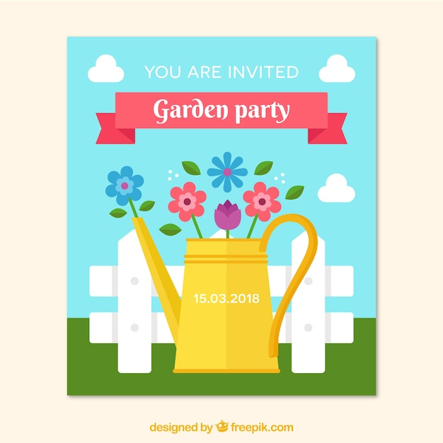 flat garden party invitation template vector free download