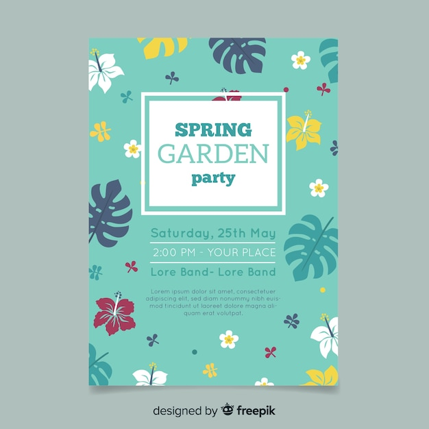Flat garden party poster Free Vector