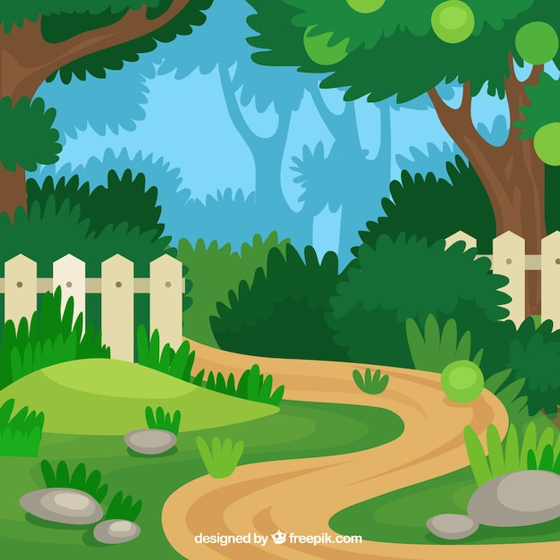 Flat Garden Path Design Vector Free Download