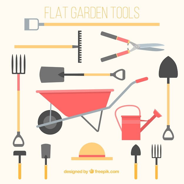 flat gardening tools vector free download
