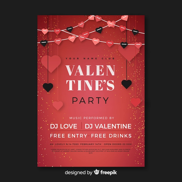 Flat garland valentine party poster Free Vector