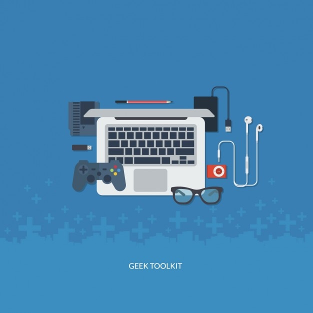 Flat geek tool kit Free Vector