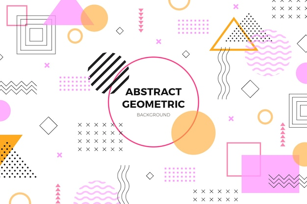 Flat geometric baby pink shapes background Free Vector