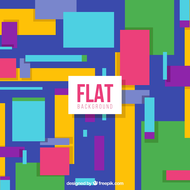 Flat geometric background with colourful shapes