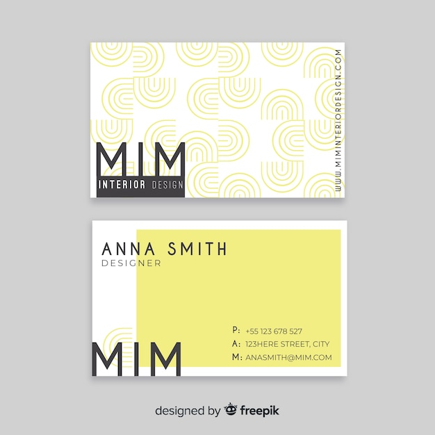 Flat geometric business card template Free Vector
