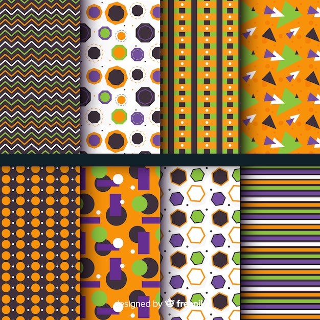 Flat geometric halloween pattern collection Free Vector