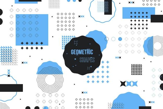 平らな幾何学的図形の背景と青のメンフィス効果 Premiumベクター
