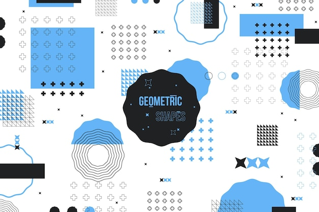Flat geometric shapes background and blue memphis effect Free Vector