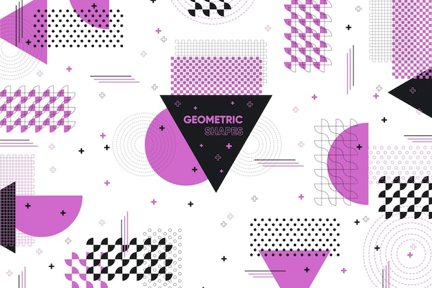 Flat geometric shapes background and violet memphis effect Free Vector