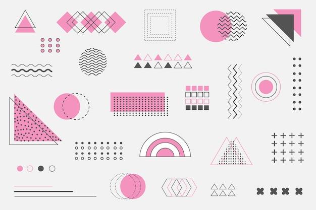 Flat geometric shapes background Free Vector