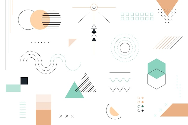 Flat geometric shapes background Premium Vector