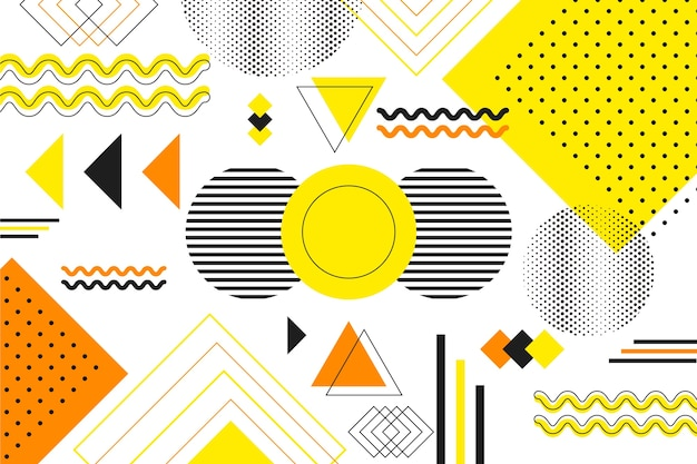 Flat geometric shapes background Free Vector