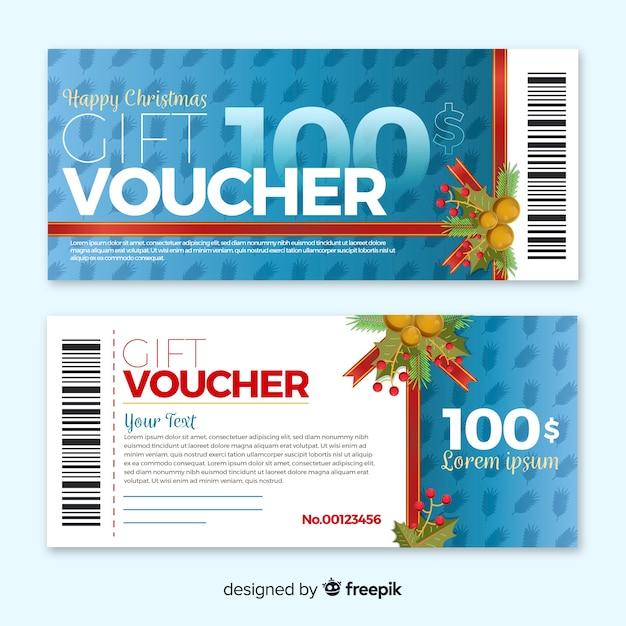 Flat gift voucher Premium Vector