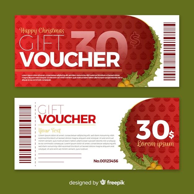 Flat gift voucher Free Vector