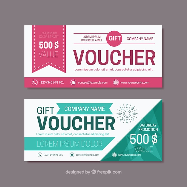 Flat gift vouchers with color details Free Vector