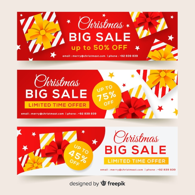 Flat gifts christmas sale banner Free Vector