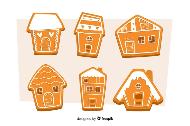Flat gingerbread house collection for christmas Free Vector