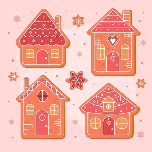 Плоский пряничный домик на розовой поверхности Бесплатные векторы