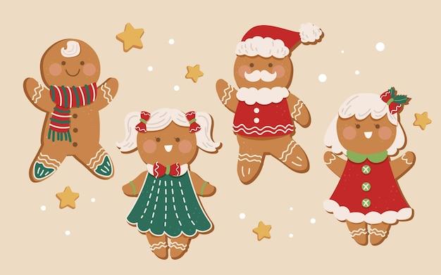 フラットジンジャーブレッドマンクッキーコレクション 無料ベクター
