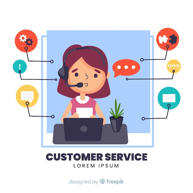 Flat girl working in a call center background Free Vector