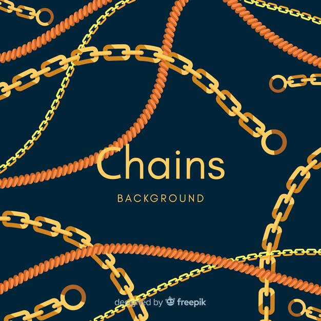 Flat golden chains background Free Vector