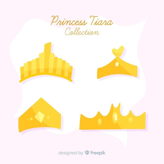 Flat golden princess tiara collection Free Vector
