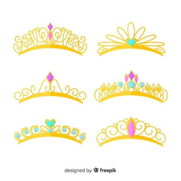 Flat golden princess tiara pack Free Vector
