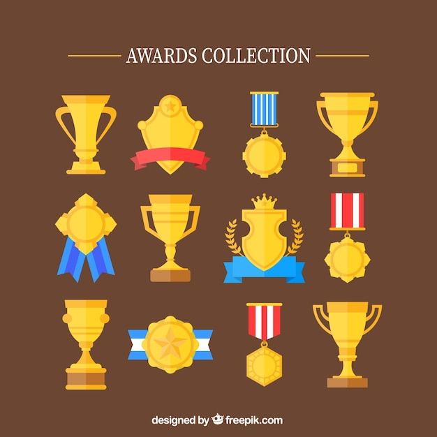 Flat golden trophies and medals set Vector | Free Download