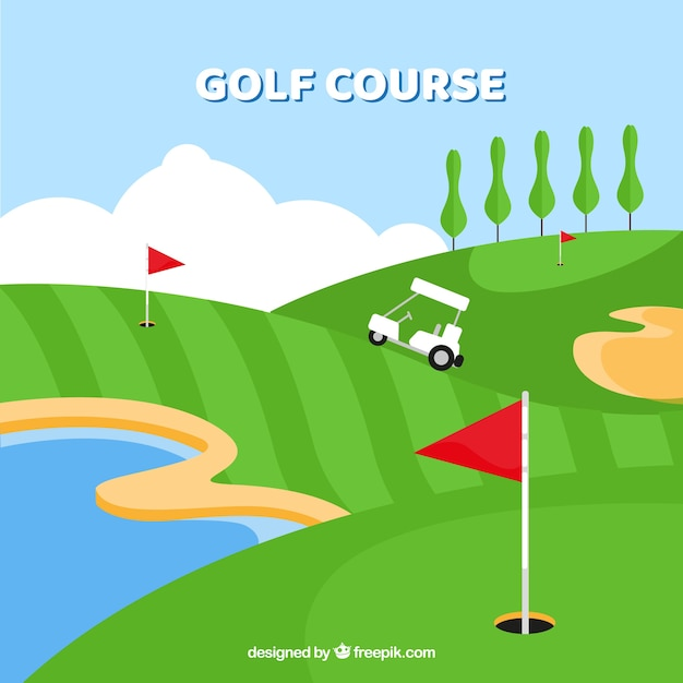 Flat golf background with caddy
