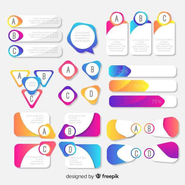 Flat gradient infographic element collection Free Vector