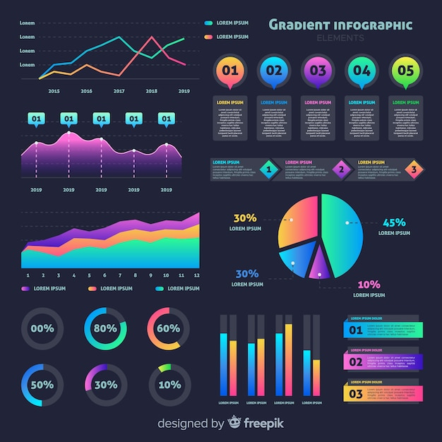 Flat gradient infographic with stats Free Vector