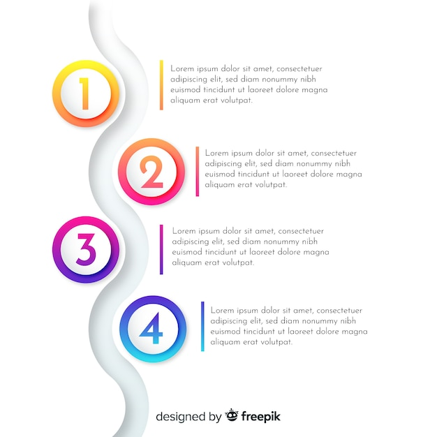 Flat gradient infographic with steps Free Vector