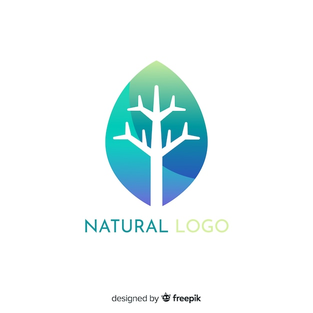 Flat gradient nature concept logotype Free Vector