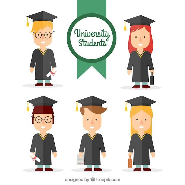 flat graduating college students set free vector
