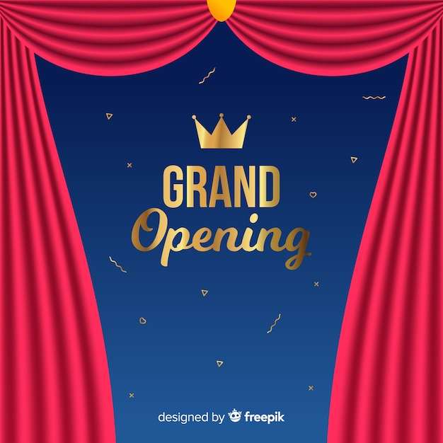 Flat grand opening background with curtains Free Vector