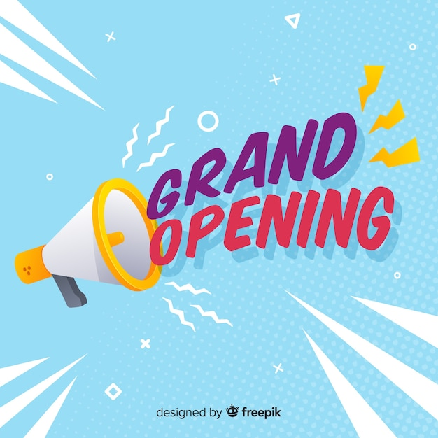 Flat grand opening background with megaphone Free Vector