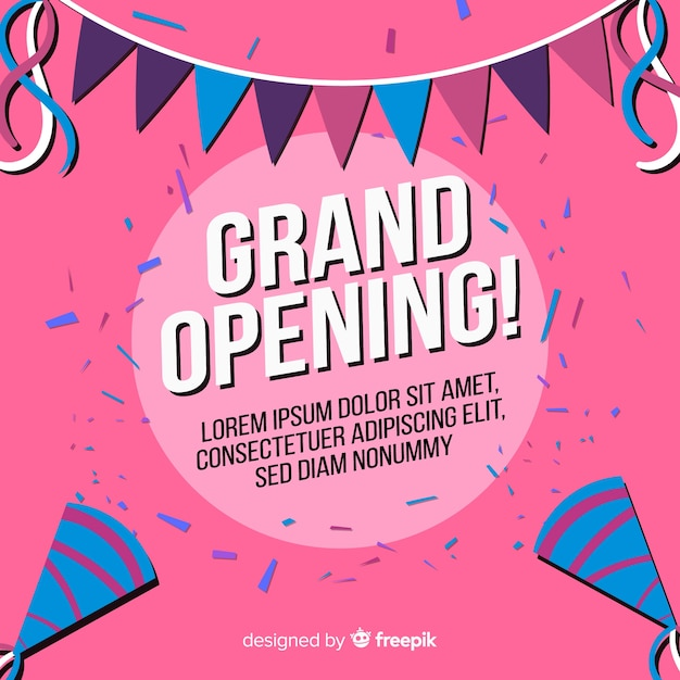 Flat grand opening background Free Vector